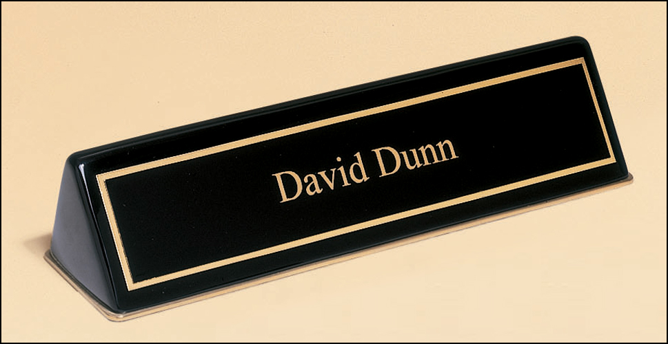 Walnut Nameplate with Business Card Holder – Recognition Awards ...